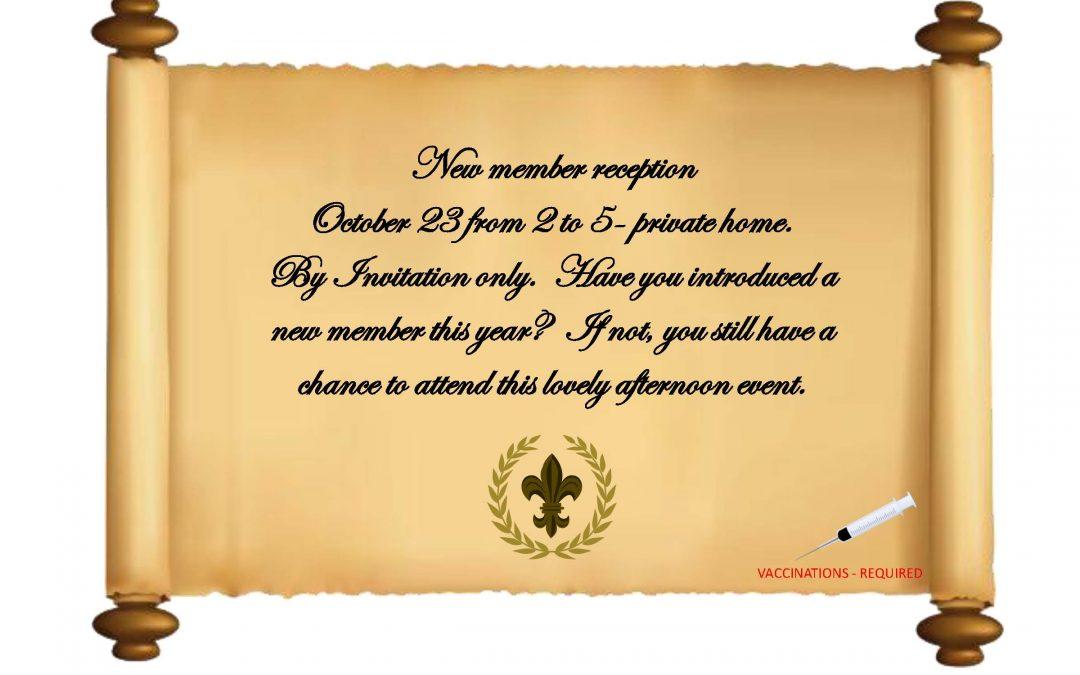 New Member Reception – October 23, 2021